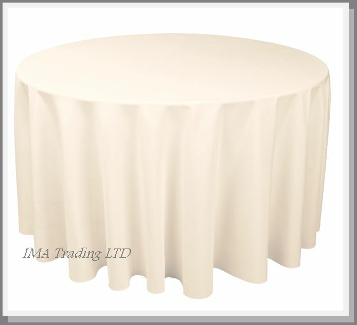 IVORY ROUND TABLECLOTH 130  (7  TABLE) 330cm TABLE CLOTH 220GSM SPUN POLYESTER
