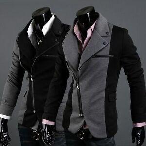 Mens-Irregular-Style-Suit-Slim-fit-Zipper-Casual-Blazers-Sport-Coat-Jackets-X08