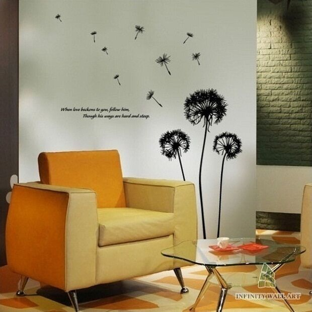 Quality Dandelion Flower Wall Art Sticker, Flower Wall Sticker Decal - PD23