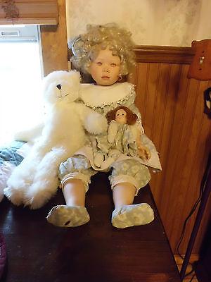 "Christine Orange, Christine 27"" tall porcelain doll w/coa free shipping"