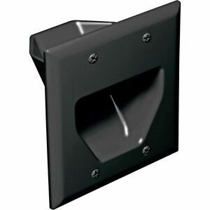 2 gang recessed black wall plate low voltage pass through speaker surround cable ebay for Exterior wall cable pass through