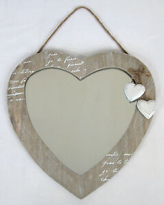 WALL-HANGING-MIRROR-LOVE-HEART-DESIGN-SHABBY-CHIC-WOOD-FINISH-NEW