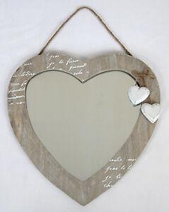 WALL-HANGING-MIRROR-LOVE-HEART-DESIGN-SHABBY-CHIC-WOOD-FINISH-NEW