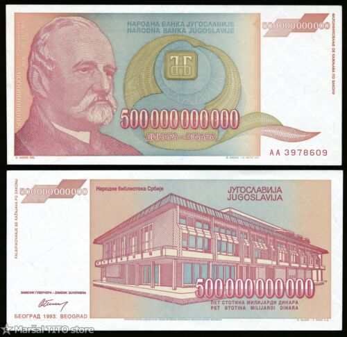 YUGOSLAVIA - P 137 - 500 Billion Dinara - Belgrade 1993 - HYPERINFLATION - AU