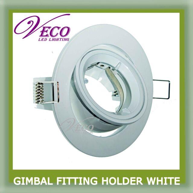 WHITE GIMBAL FITTING HOLDER HALOGEN LED LIGHT BLOBE GU10 MR16 DOWNLIGHT