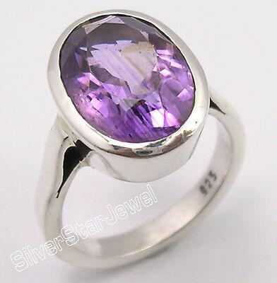 925 Pure Silver CUT PURPLE AMETHYST LOVELY Ring Any Size SEMI PRECIOUS GEMSTONE