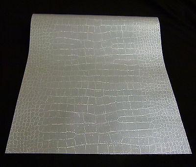 1466-25) 1 Rolle Vinyltapete Krokodil Lederoptik silber glänzend Design Tapete