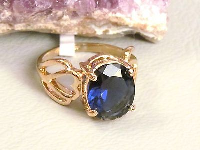 Saphir Blau Ring Echt GOLD KRGP/-vergoldet Geschenkidee DAMENRING ETIKETT