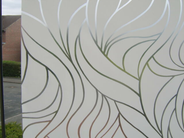67.5cm W WHITE SWIRL FROSTED GLASS EFFECT STATIC CLING SELF ADHESIVE VINYL FILM