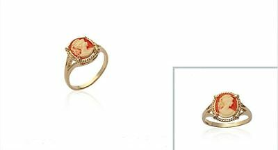 New 18Ct Gold Filled  Orange Cameo Ring
