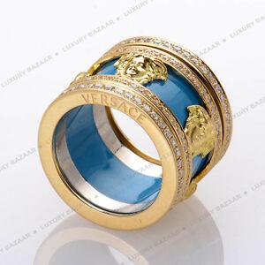 Versace 18K Yellow Gold And Diamonds Turquoise Medusa