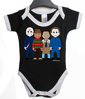VIPWees SLASHERS HORROR COMEDY BABY GROW VEST RETRO CLOTHES MOVIE GIFT V41