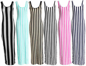 Ladies-Women-Bold-and-Thin-Stripe-Scoop-Neck-Sleeveless-Full-Length-Maxi-Dress
