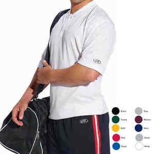 Rawlings-Mens-XS-2X-3XL-4XL-5XL-Mesh-Sports-Henley-2-Button-Tee-Baseball-T-shirt
