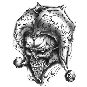 urban realistic temporary tattoo joker skull 8 ball made in usa big tattoos ebay. Black Bedroom Furniture Sets. Home Design Ideas
