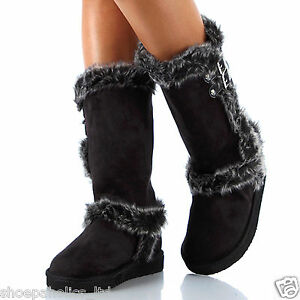 BLACK-Womens-Fur-Buckle-Mid-Calf-Boots-Size-5-5-to-10
