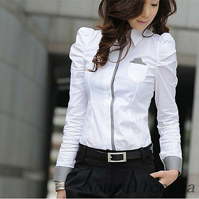 MGA Women Fashion Shrug Bubble Long Sleeve Slim Cotton Shirt Blouse Top White