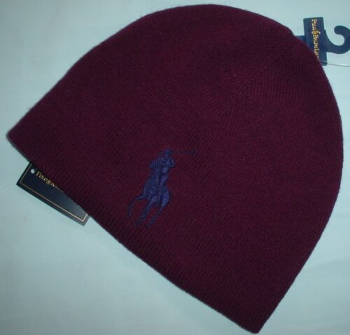 RALPH LAUREN Mens Skull Beanie Cap Winter Ski Hat 100/% Wool Big Pony New