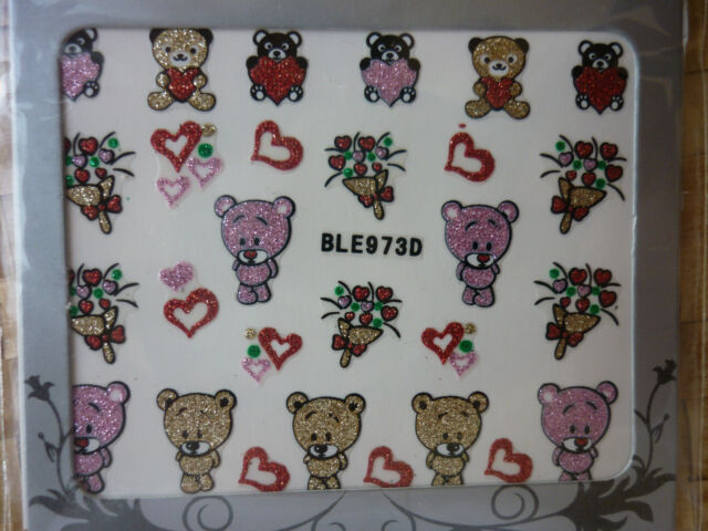 Nail Art Stickers Decals Nail Transfers Valentines Lips Bows & Love Hearts