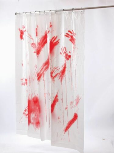 BLOOD BLOODY SHOWER CURTAIN SCARY BATES PSYCHO MOTEL CRIME SCENE HALLOWEEN PROP