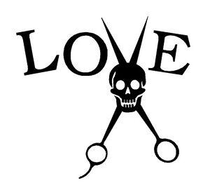 Barber Love : ... Love Decal Sticker Salon Beauty Shop Stylist Barber Scissors Skull