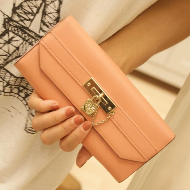 Fashion Women Classical PU Leather Button Clutch Lady Long Handbag Wallet Purse