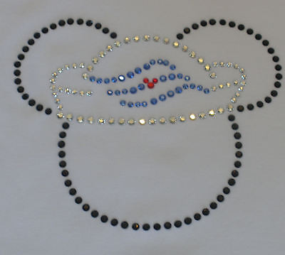 "7.4"" DISNEY CRUISE Sailor Minnie/Mickey iron on rhinestone transfer bling patch"