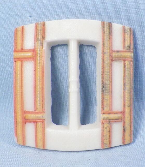 Vintage Belt Buckle White Milk Glass Yellow & Orange Plaid Paint A Beauty Retro