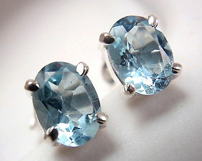 Faceted Blue Topaz Oval 4-Pronged Stud Earrings 925 Sterling Silver New
