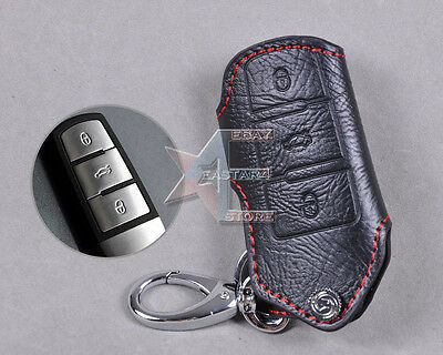Leather Remote Holder Case Cover FOR Volkswagen Magotan Passat B6/B7/CC/3C