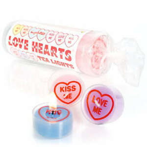 SWIZZELS-MATLOW-RETRO-LOVE-HEART-TEA-LIGHT-CANDLE-6P-K-NEW-CELLOPHANE