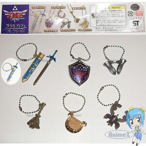 Zelda-Skyward-Sword-Metal-Item-Collection-keychain-set-of-6-Master-Sword-NEW