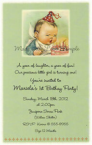 Details About 10 Sweet Vintage 1st Birthday Invitations Cute Baby Boy Adorable Candles