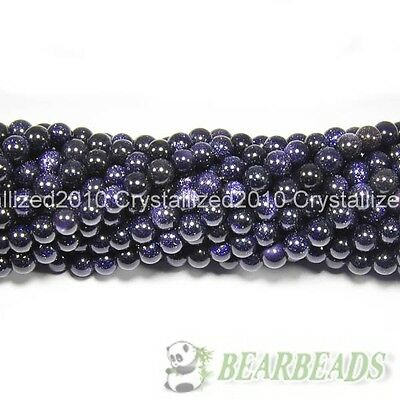 """Natural Blue Sand Gemstone Round Ball Spacer Beads 4mm 6mm 8mm 10mm 12mm 15.5"""""""