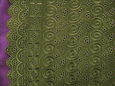 "OLIVE GREEN ALLOVER COTTON EYELET EMBROIDER  FABRIC 44"" WIDE 1 YARD"