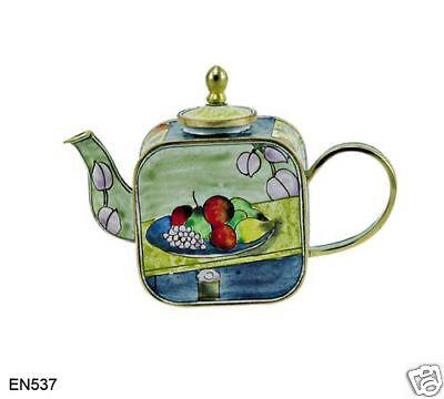 KELVIN CHEN Enamel Mini Teapot- Apples Peaches CEZANNE