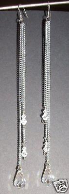 Ohrringe mit Swarovski® Kristallen Tropfen SEHR LANG! Ohrhänger mit Schmuck Box