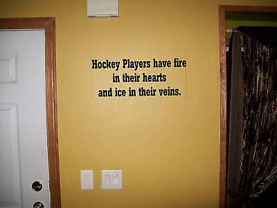 Hockey Players Fire in heart vinyl wall decal sticker