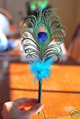 Peacock feather pen – gorgeous wedding guest book pen!