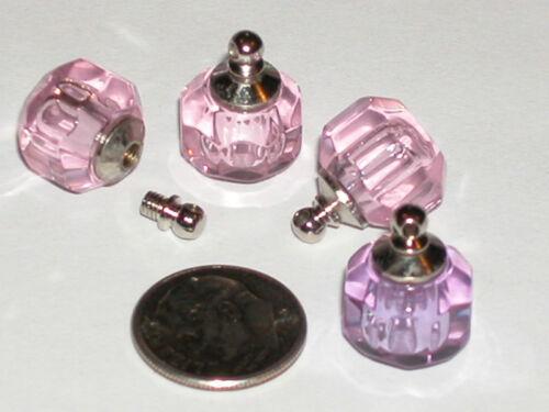 1 Crystal Ball Pink Perfume vial little round charm pendant bottle SCREW CAP New