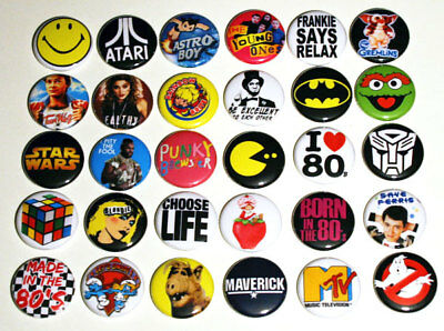 ICONIC 80s PARTY BADGES x 30 Buttons Pinbacks Pins Lot Set 1980s