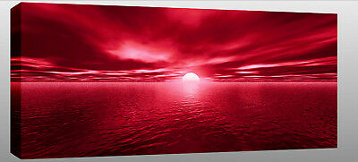 """X Large Red Canvas Wall Picture Sunset Sea Seascape 44"""""""