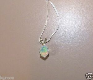 .70 CTW GENUINE 8 X 6 MM FACETED ETHIOPIAN OPAL PENDANT W CHAIN