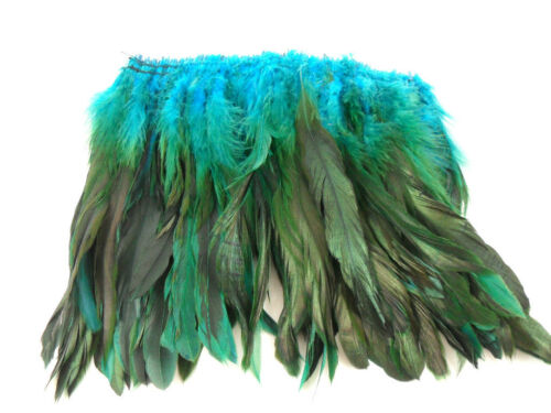 """100+ TURQUOISE TEAL BLUE HALF BRONZE ROOSTER SCHLAPPEN FEATHER 5""""-7""""L"""