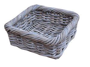 Image Is Loading Grey Amp Buff Rattan Square Storage Basket Tray