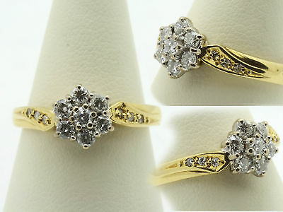 18ct Gold Diamond Daisy Cluster Ring Size L