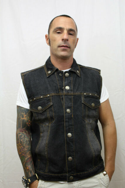 MENS NEW BLACK DENIM BIKER VEST WITH SNAPS  M - 2XL