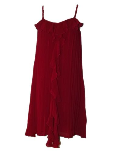 GORGEOUS NEW LITTLE RED or BLACK PLEATED TRAPEZE RUFFLE PARTY DRESS Size 8-18