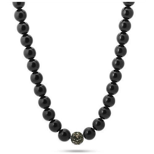"Black Onyx Hematite Round Ball Beads Hip Hop Men Unisex Long Necklace 30/"""