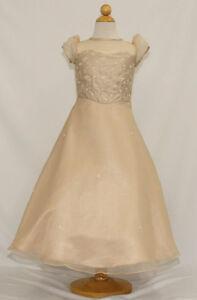 Flower Girl Champagne Graduation Dress Pageant Wedding Formal Size4 6 8 10 12 14